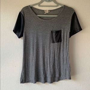 KIRRA - Faux Leather Accent Tee